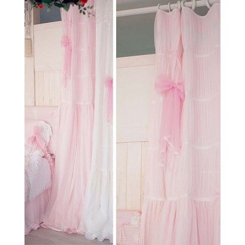 pink and green nursery curtains ruffle blackout panel pottery