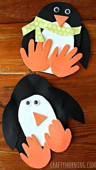 Handprint Penguin Craft for Kids to Make - Great winter art project | http://CraftyMorning.com