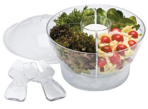 Note o compartimento para armazenar gelo na base desta saladeira. A solução...