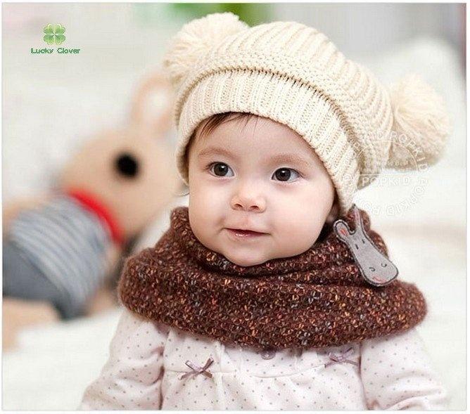 double-ball Baby autumn winter hatBaby Autumn, Wool Knits, Baby Kids, Kids Infants, Autumn Winter, Baby Winter, Kids Knits, Infants Beanie, Winter Hats