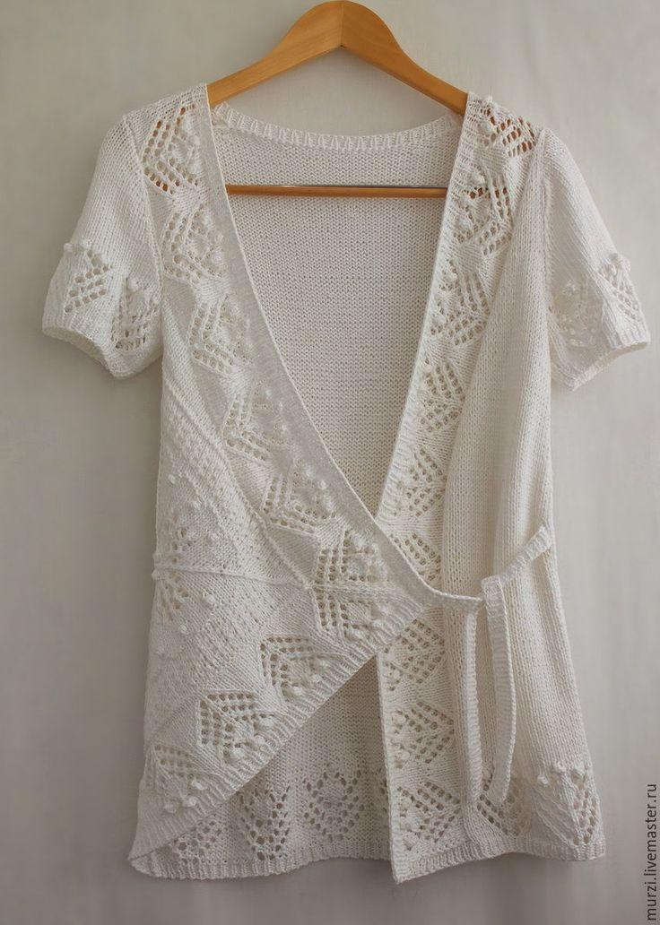 """Купить Жилет """"Орнамент"""" - рисунок, жилет вязаный, вязание спицами, ажурный узор, белый"""