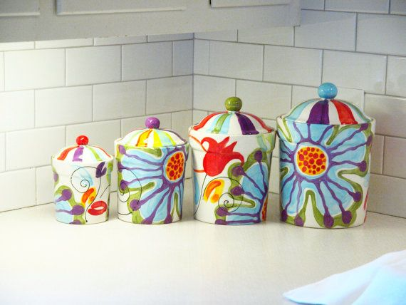Colorful Canisters, Ceramic Canisters, Flour and Sugar Canisters, Kitchen Canisters, Jubilation Canister Set, Whimsical Pottery Happy Home