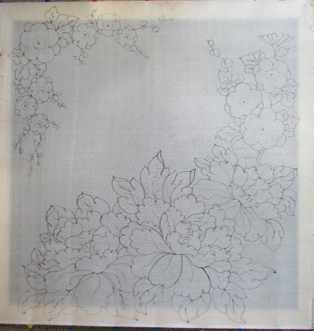 Сегодня я расскажу вам о том, как создавался платок «Весенние цветы». Вы можете попробовать расписать платок вместе со мной. Нам понадобятся: 1. Картон (эскиз с рисунком платка в натуральную величину). 2. Отрез натурального шёлка эксцельсиора 70/70 см. 3. Подрамник. 4. Силовые кнопки. 5. Кисти. 6. Красители для шёлка Marabu. 7. Резерв. 8. Трубочка для резерва. 9. Соль. 10. Палитра. 11.