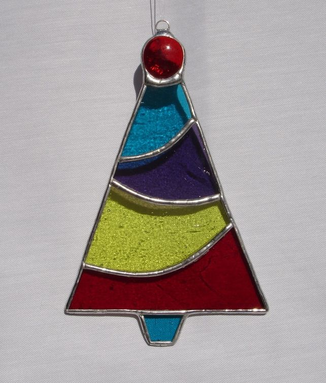 Ordinary Christmas Stained Glass Ornaments Part - 13: Stained Glass Christmas Tree--good Idea For Those Grass Scraps That I  Always Have