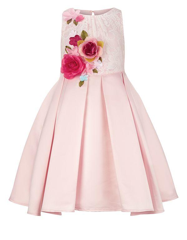 vestito low cost rosa in raso con bellissime rose in 3D Accessorize. Adatto ad una damigella d'onore 0-12 anni