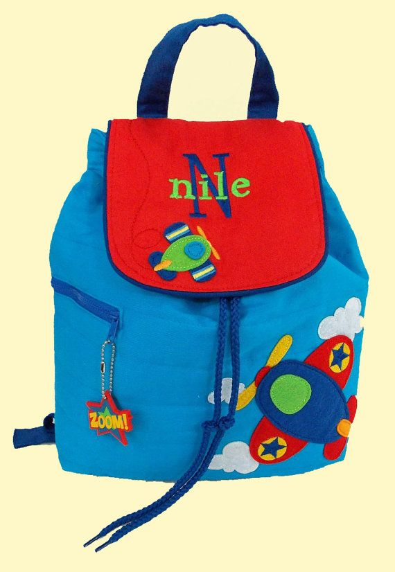 Personalized Stephen Joseph Backpack AIRPLANE by DeerpathDesigns.Etsy.com