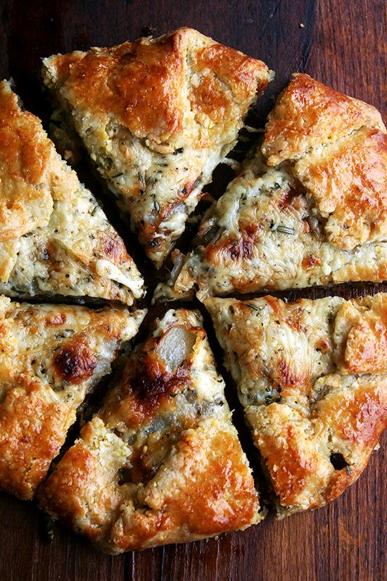 pear, fontina caramelized onion galette