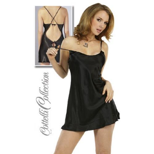 Sexy Negligé gemaakt van zwart glanzend satijnen stof. De Negligé is van achteren diep uitgesneden en is met spaghetti bandjes vast te strikken en alles is verstelbaar voor een perfecte pasvorm.