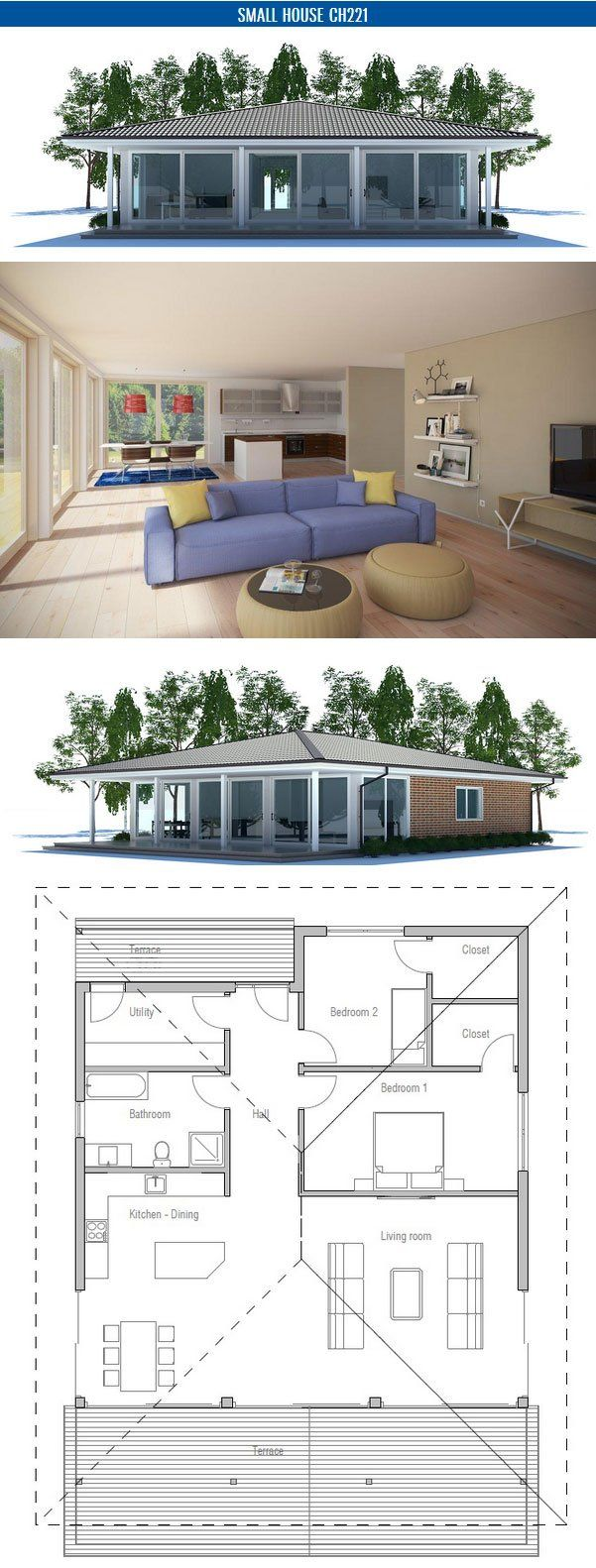 "House Plan, two bedrooms 38'1""x40'4"""