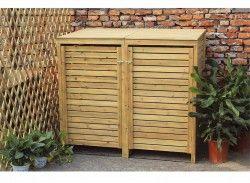 Hide those wheelie bins with the Bentley Garden Wooden Double Bin Storage Cupboard Unit!