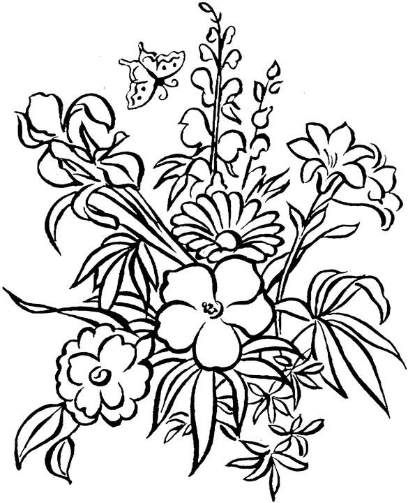 Colouring Pages Of Flowers In Vase : 102 best printables flowers images on pinterest