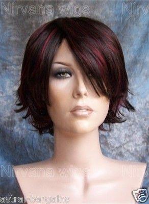 Large Fit Brown w Burgundy Highlights Short Choppy Layers Wig Wigs | eBay