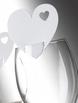 White Heart Place Cards for Glasses