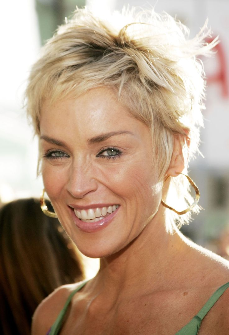 Sharon stone spiky short haircut for older women over 50 getty images - Sharon Stone Short Hair Google Search