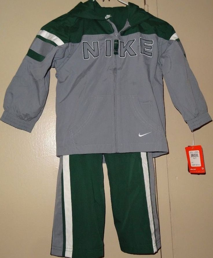 NIKE Boys Green Gray 2 Piece Tracksuit Pant Jacket Set Size 4T NWT New Tags #Nike #Everyday