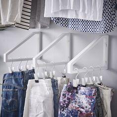 Konsol från IKEA för smart förvaring (kan man montera den i garderoben?) EKBY LERBERG konsol 25:-/st 28cm. Vit. 301.687.24