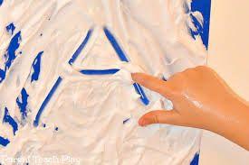 Tekenen met scheerschuim - Spuit scheerschuim op het aanrecht, plastic tafelkleed, de tuintafel… Zolang het maar plat en afwasbaar is. Smeer het uit tot een gladde brij. Nu kan je kind hier met zijn vinger of een rietje een tekening in maken. Nieuwe tekening maken? Wis de oude gewoon uit, spuit wat schuim bij en hupsakee … weer vertrokken.