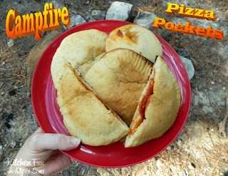 Campfire pizza pockets, assemble at home, put in foil, throw on fire! Going to try this....