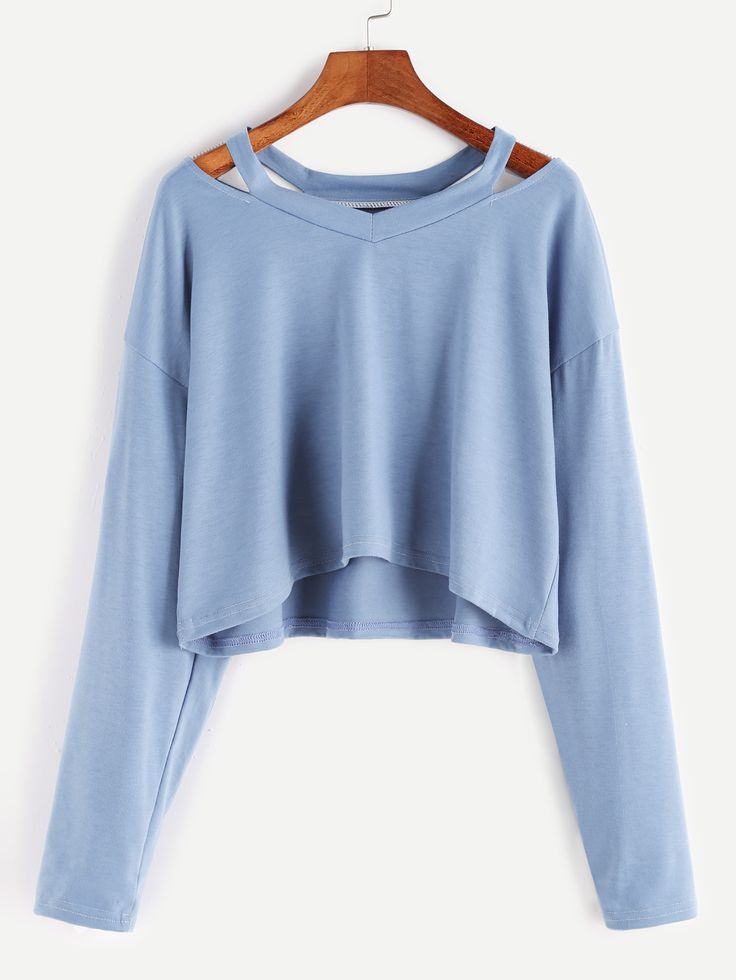 Shop Blue Cut Out Neck Crop T-shirt online. SheIn offers Blue Cut Out Neck Crop T-shirt & more to fit your fashionable needs.