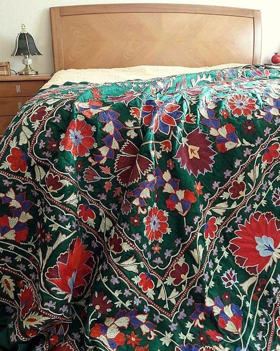 Silk embroidery of Uzbekistan handmade Suzani from