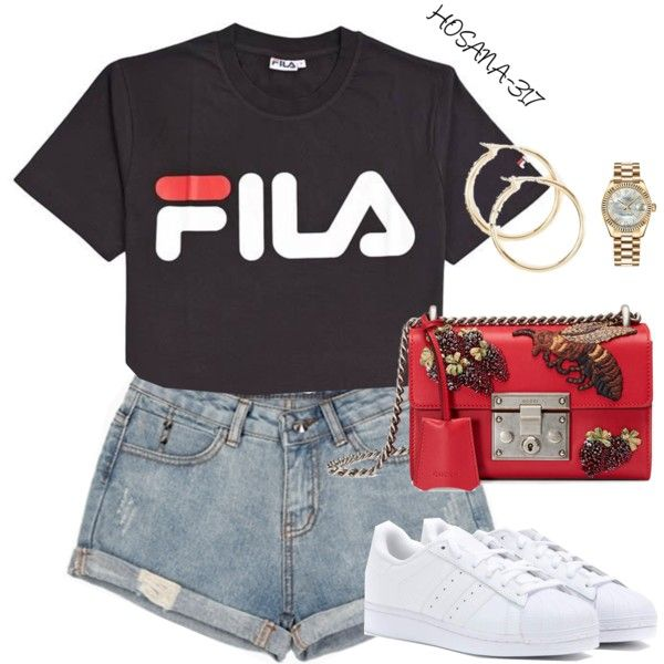 hot summer by hosana-317 on Polyvore featuring moda, Fila, adidas Originals, Gucci, Rolex and claire's