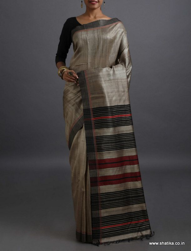 Drishti Plain with Contrast Stripe Pallu #KhadiSilkSaree
