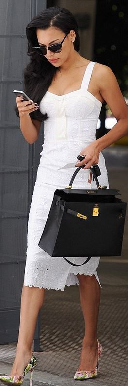 Naya Rivera, white lace dress and black handbag