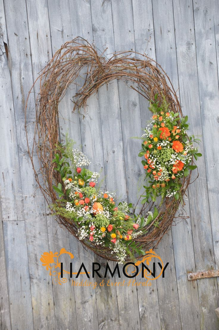 Rustic grapevine heart for the ceremony site