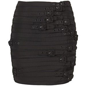 MADISON MARCUS 62437 BLACK COTTON/SPANDEX BUCKLE MINI SKIRT