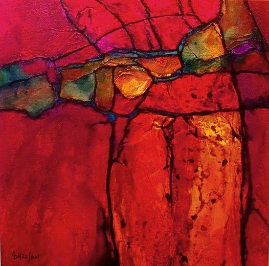 Colores Canyon R por Carol Nelson medios mixtos ~ 14 x 14