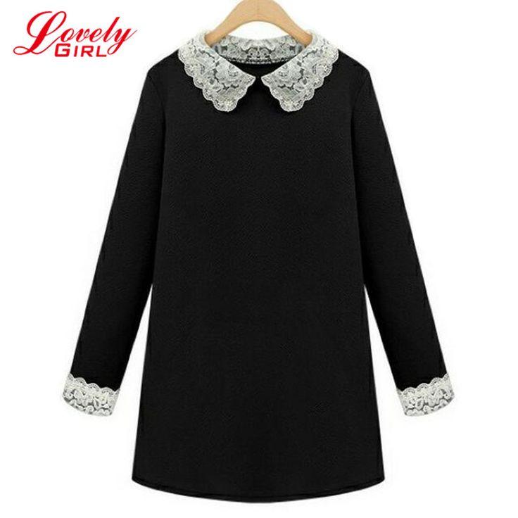 플러스 사이즈 여성 의류 5xl t 셔츠 dress 여성 2016 새로운 유행 고품질의 긴 소매 큰 크기 블랙 드레스 여성