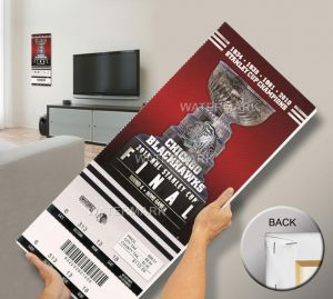 "2013 Stanley Cup Final Mega Ticket - Chicago Blackhawks. Capture the memory of seeing two NHL ""Original Six"" teams, the Boston Bruins and Chicago Blackhawks, battle for Lord Stanley's Cup with a  2013 Stanley Cup Final Mega Ticket.  Officially licensed by the NHL®, Mega Tickets® are cutting-edge wall art. They are made from authentic game tickets, enlarged 500%, printed on archival canvas, and professionally stretch-mounted. Perfect for autographs.   Overall size: 14 (W) x 33 (H) x 3/4 (D)…"