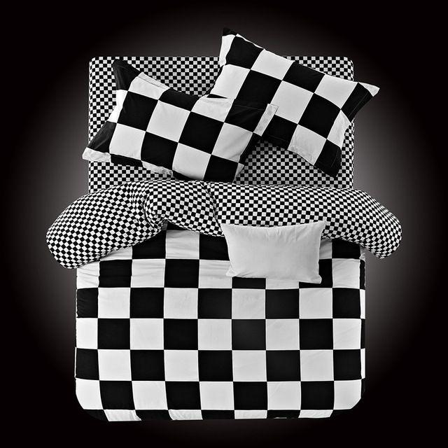 2016 Yeni % 100% Pamuk Yatak Setleri Klasik Siyah Beyaz Çizgili Ekose Yatak-Set Yorgan Nevresim Çarşaf Yastık Hiçbir Yorgan