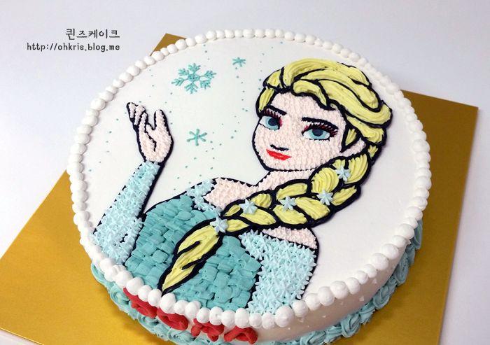 겨울왕국 엘사 케이크, Frozen Elsa Cake, elsa, charactercake, buttercreamcake