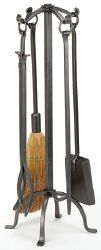 Woodfield 61213 Natural Wrought Iron Fireplace Tool Set