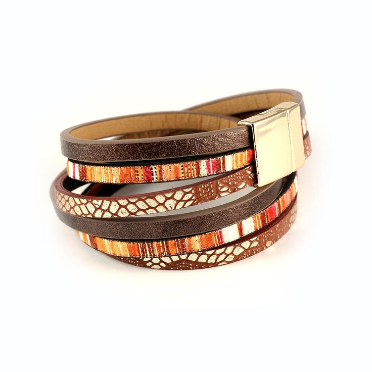 Womens bracelet leather cuff, colorful leather bracelet with magnetic clasp, brown wrap bracelet for her, anniversary gift for vegan sister by KociokwikJewelry on Etsy