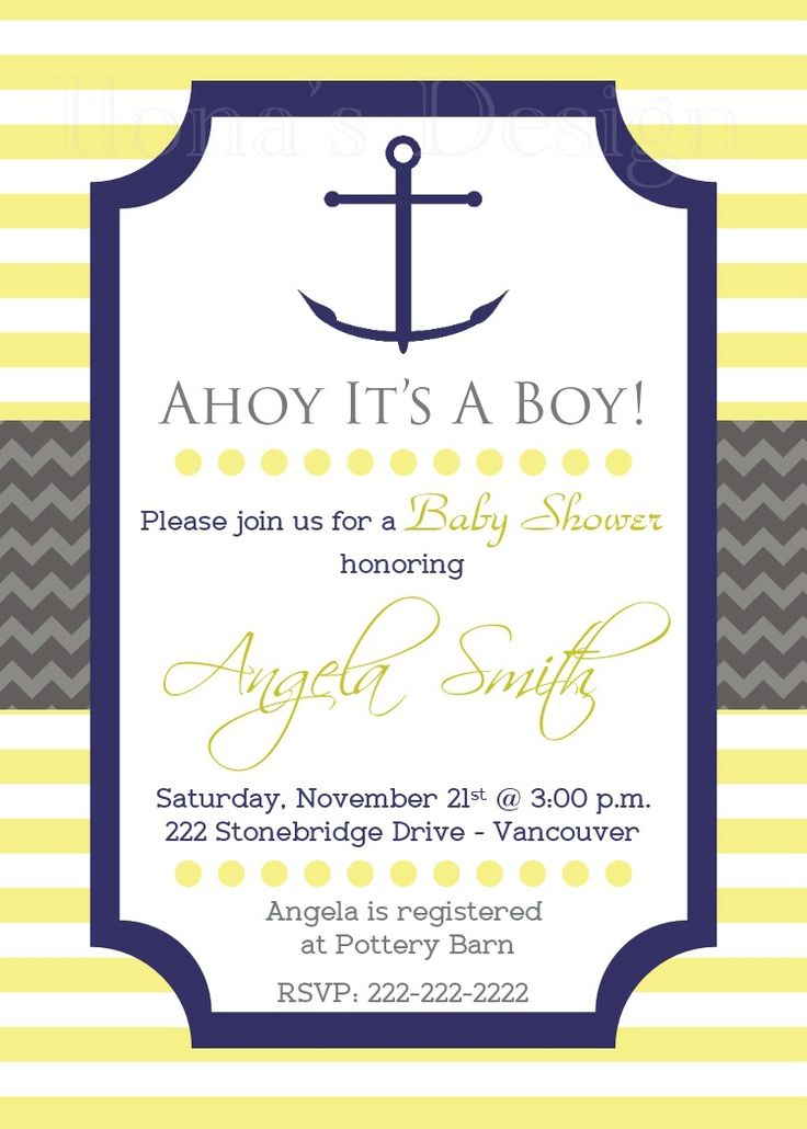 Yellow Nautical Baby Shower Party Invitation - Baby Boy Shower - Anchor Invitation - Ahoy its a Boy by Ilona's Design