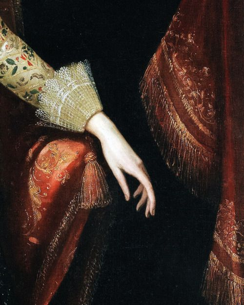Portrait of a lady thought to be Vere Egerton, Mrs William Booth, attributed to Robert Peake (1541-1619). detail.