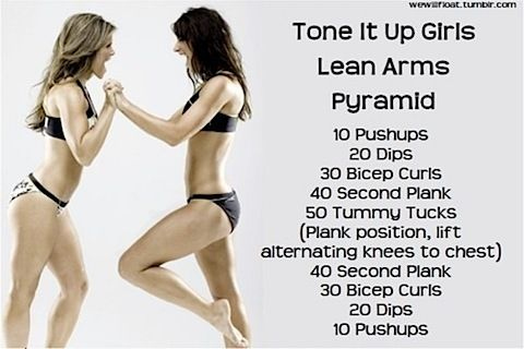Lean Arms. Please ignore the skinny chicks. This workout actually looks challenging and possible.