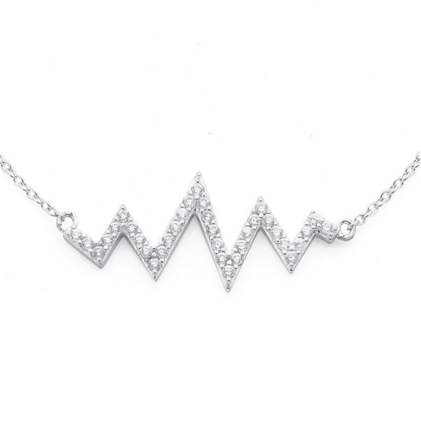 Geometric Heartbeat Necklet! Sterling Silver with Cubic Zirconia