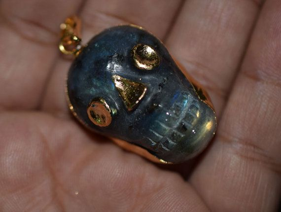Natural Labradorite Skull Carved Pendant Charm by GauravExports