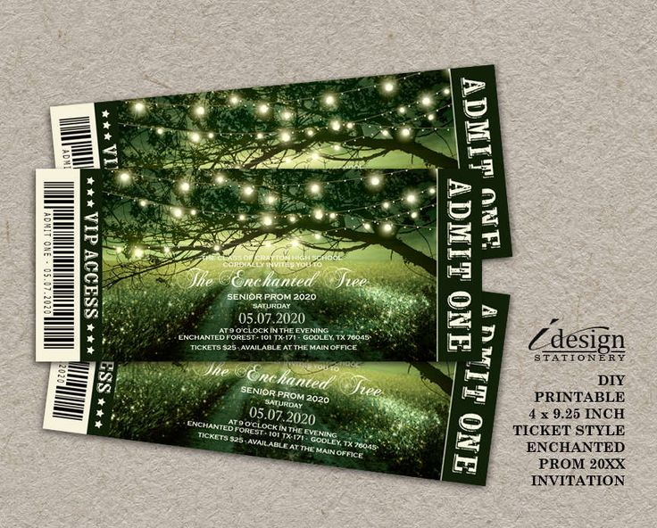 Enchanted Prom Invitation | Printable Fairytale Forest Prom Ticket Style  Invitations For Any Outdoor, Garden  Prom Tickets Design