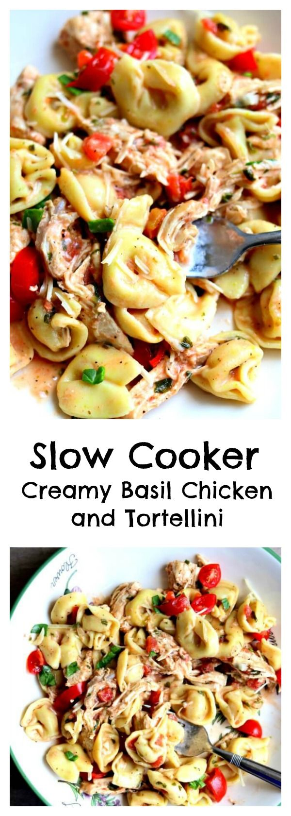 Slow Cooker Creamy Basil Chicken and Tortellini–tender bites of chicken breast and cheesy tortellini are served in a creamy tomato basil sauce. This is made in your slow cooker and is a no fuss recipe! #slowcooker #crockpot
