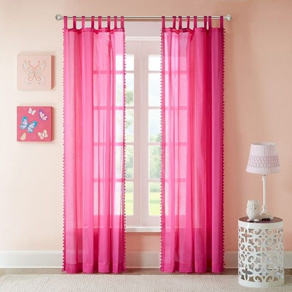 Mi Zone Sophie Sheer Curtain, Pink (£28) ❤ Liked On Polyvore Featuring