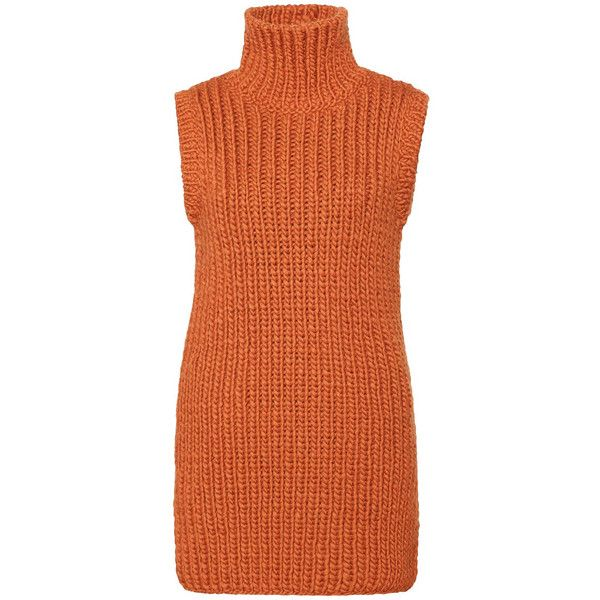 Orange Wool Hand-Knit Sleeveless Turtleneck Vest-Sweater ($679) ❤ liked on Polyvore featuring tops, sweaters, sleeveless sweater, turtleneck sweater, sleeveless turtleneck, vest sweater and red turtleneck