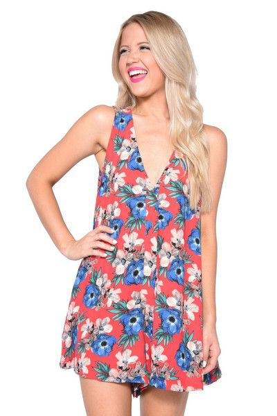 "The ""Luau Luau"" romper is basically the most comfy romper of all time. We love the relaxed fit and the distinct island print. The material is 100% polyester and"