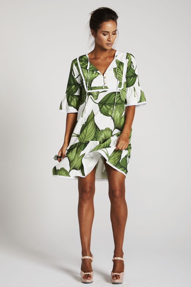 Binny - Sugar & Lime Tunic Dress In Green Print