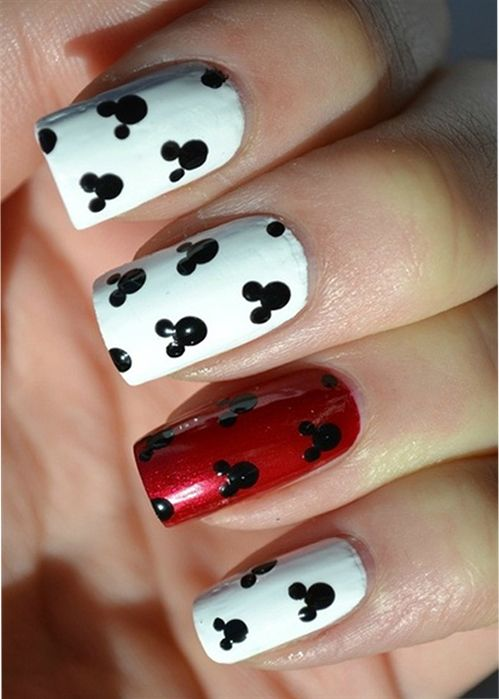 Red and white Disney nail art