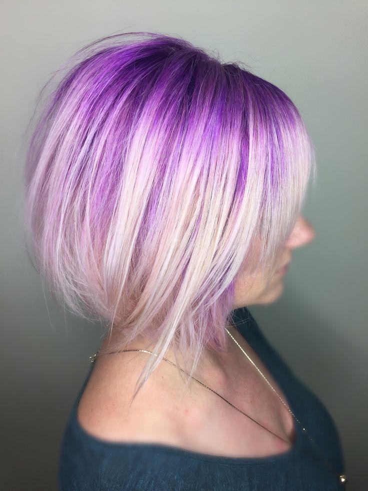 Purple Smudged Blonde Hair Icy Blonde Short Bob Haircut