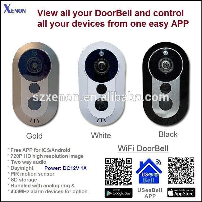 2016 HD Wifi Smart Video Doorbell support 2 way audio door bell and SD card recorder ,PIR function